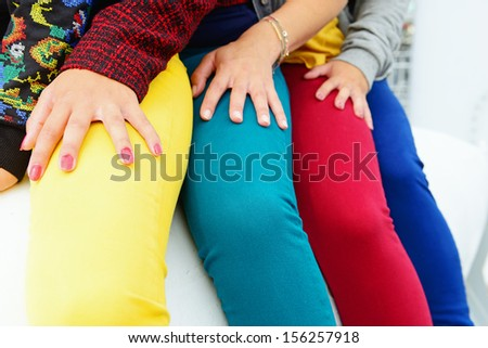models with color jeans for fashion background - stock photo