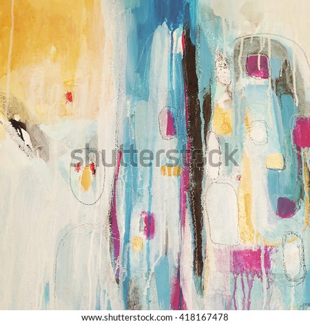 Modern abstract colorful background. Acrylic on canvas.  Fragment of artwork.  Geometic style