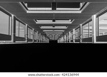 Modern architecture. Modern building. Architecture. Architectural detail. Black and white. Chrome. Futuristic background. Abstract background. Artistic background. Minimal design. Industrial design.