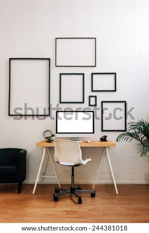 Modern creative workspace.  - stock photo