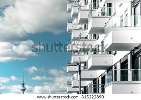 modern cubic futuristic residential house in berlin - stock photo