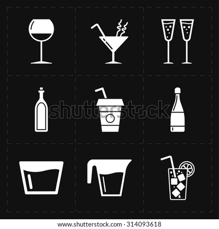 9 modern flat bar icons - stock photo