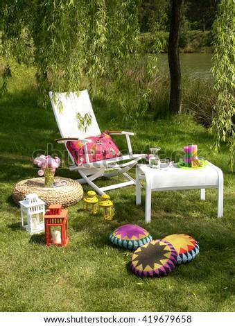 modern garden furniture                               - stock photo