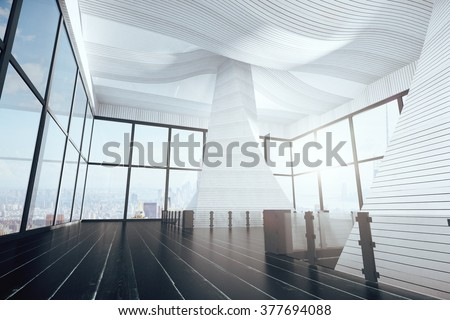 Modern interior of a large room with black floors and large windows at daytime 3D Render - stock photo