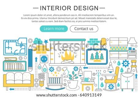 Modern line flat interior design decor stock illustration for Interior design web app