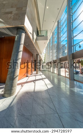 Modern lobby, hallway, plaza of the luxury center, hotel, shopping mall, business centre in Vancouver, Canada. Interior design.