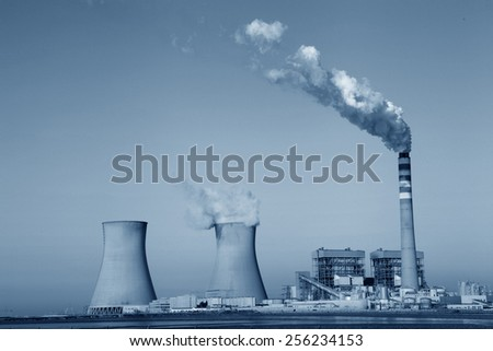Modern power plants under the blue sky