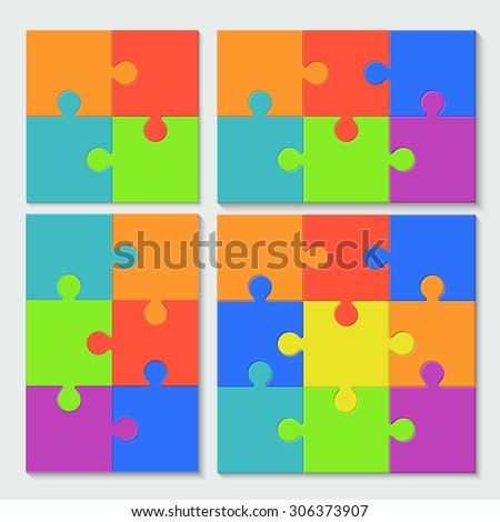 modern puzzle set with shadow on white background