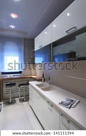 modern white kitchen interior - stock photo