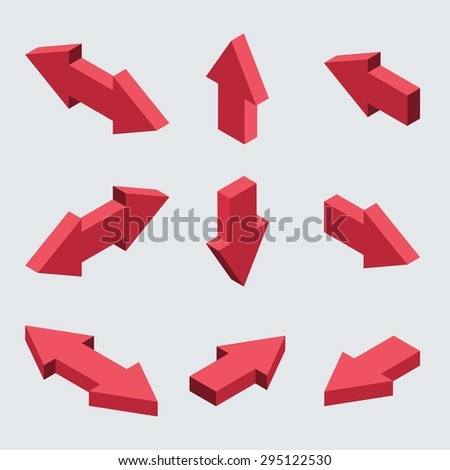 moders set of isometric arrows on gray background - stock photo