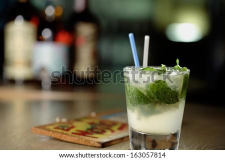 Mojito drink / Caipirinha shot/ Vodka  shot / tequila shot - stock photo