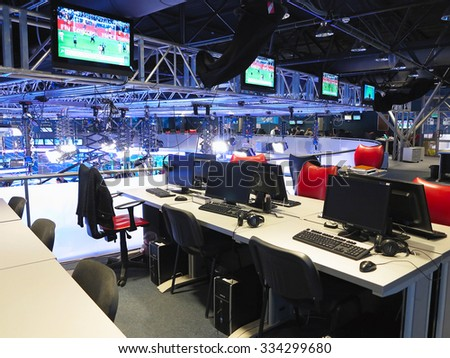 "05.04.2015, MOLDOVA, ""Publika TV"" NEWS studio with light equipment ready for recording release. - stock photo"
