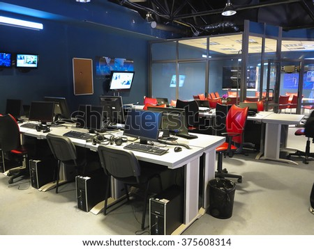 "05.04.2015, MOLDOVA, ""Publika TV"" NEWS television studio office - stock photo"