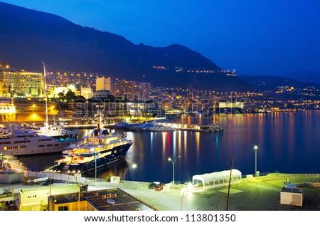 Monaco at night - stock photo