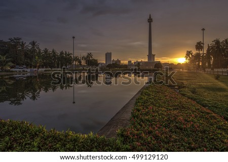"""Monas"" National Monument in Jakarta, Indonesia."