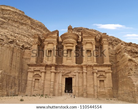 Monastery (Al Deir) of Petra, an Unesco World Heritage Site, one of the wonders of the world, Jordan. - stock photo