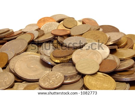 Money coins from many different countries - stock photo