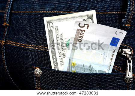 money in jeans closeup