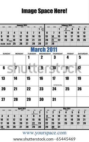 5 month 2011 calendar, March, with copy space and text space. Page one of 12 - stock photo