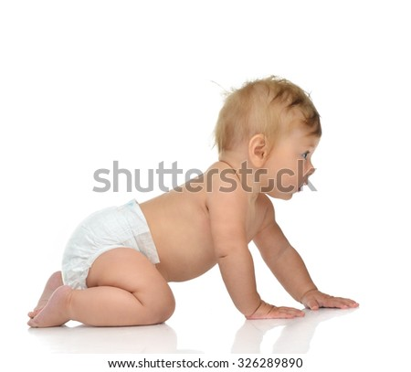 6 month infant child baby toddler sitting or crawling looking at the corner on a white background - stock photo