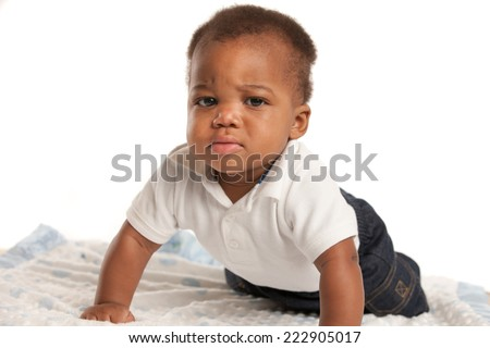 3-month old African American Funny Baby Boy Facial Expression
