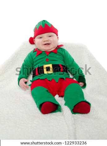 7-month-old baby boy in elf costume for holidays  sc 1 st  Shutterstock & 7 Monthold Baby Boy Elf Costume Holidays Stock Photo (Royalty Free ...