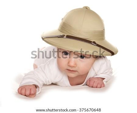 3 Month old baby wearing safari hat cutout - stock photo