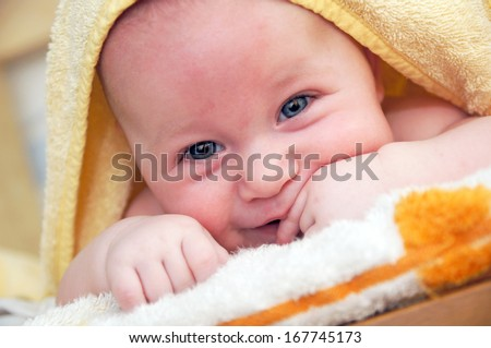 3 month old baby with towel / Baby
