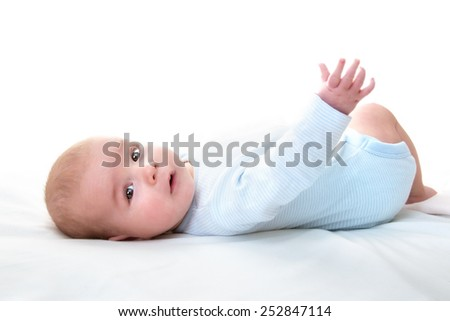3 month old isolated baby - stock photo