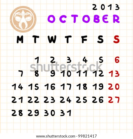 2013 monthly calendar October with Libra zodiac sign stamp