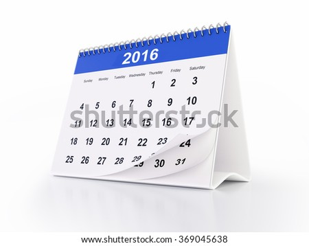 2016 monthly desktop calendar with curled pages. The calendar is blue in colour and it is isolated on white background. Clipping path is included.