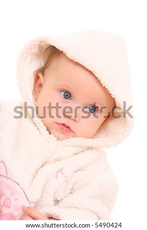 6 months baby girl in hood isolated on white