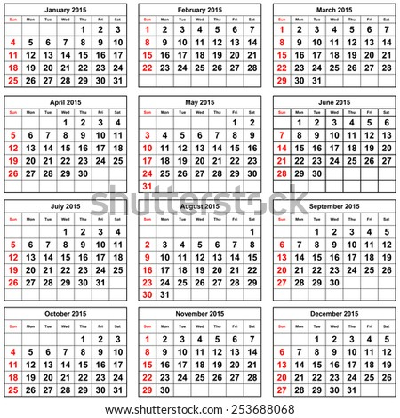 12 months of the annual calendar -  2015 year - stock photo