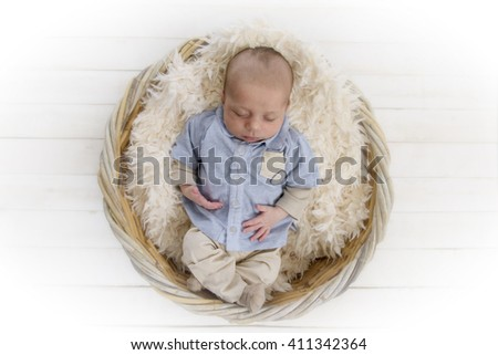 2 months old sleeping baby - stock photo