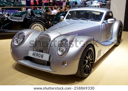 2015 Morgan Aero 8 presented the 85th International Geneva Motor Show on March 3, 2015 in Palexpo, Geneva, Switzerland