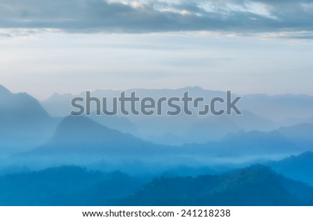 morning in summer mountains. - stock photo