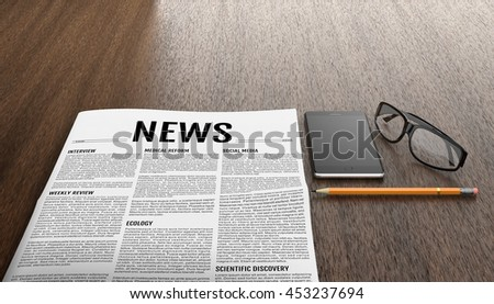 Morning newspapers on wooden table. Smart phone, glasses and pencil next to the tabloid. 3D illustration. - stock photo