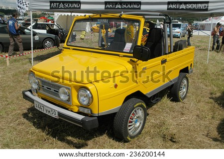 """MOSCOW, RUSSIA -  July 8, 2005: Soviet retro car LUAZ-969 """"Volyn"""" in modern tuning the exhibition Autoexotics, Moscow, Tushino                    - stock photo"""