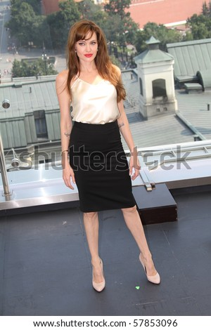 MOSCOW, RUSSIA - JULY 25: US actress Angelina Jolie poses for a photocall on the roof of Ritz hotel in on July 25, 2010 in Moscow, Russia