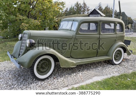 MOSCOW, RUSSIA- OCTOBER 7- Gaz-M1- Staff car (USSR),1936. Max.speed,km/h-105 in the Central Museum of the Great Patriotic War on October 7; 2015 in Moscow