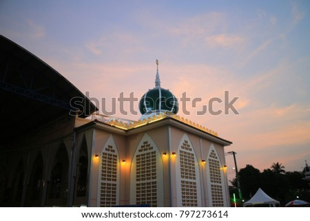 mosque in sunset and blue sky