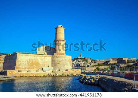 Most watchtower of Fort St. John - buildings to protect the Old City Port. Marseille -  large port in the south of France  - stock photo
