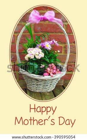 Mother's Day card with a basket of flowers                    - stock photo