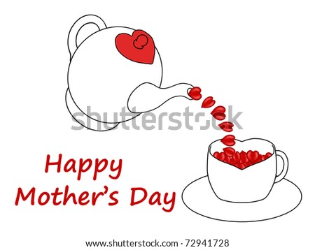 Mother's Day teapot pouring hearts into a teacup - stock photo