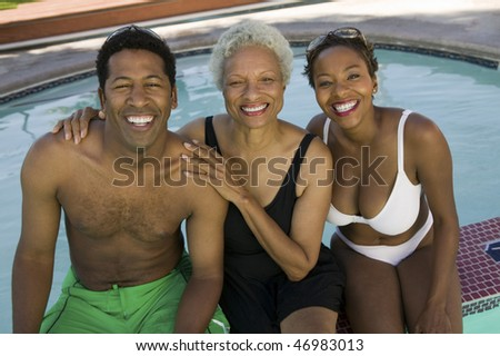 """Mother, Son and Daughter-in-law Poolside"""