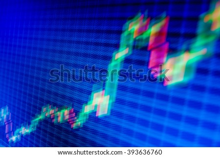 Motion blur effect. World economics graph. Stock analyzing. Abstract financial background trade colorful. Business analysis diagram. Share price candlestick chart. Online forex data.   - stock photo