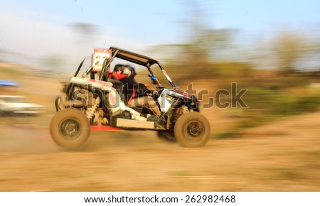 Motion blurred of off road competition - stock photo