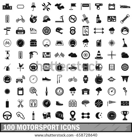 100 motorsport icons set in simple style for any design  illustration