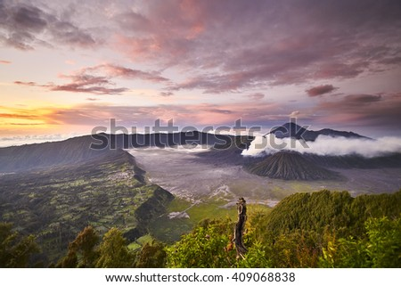 Mount Bromo volcano during sunrise, the magnificent view of Mt. Bromo located in Bromo Tengger Semeru National Park, East Java, Indonesia.â?¨                         - stock photo