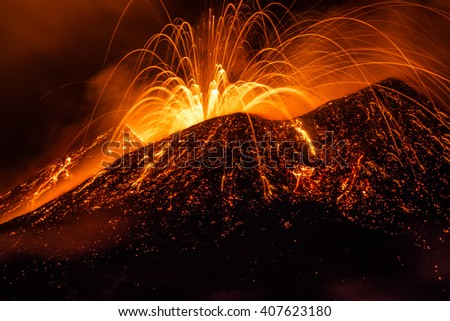Mount Etna, produced fountains and explosions of lava